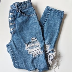 (bongo) Vintage 5 Button Hi-Waist Mom Jeans 5